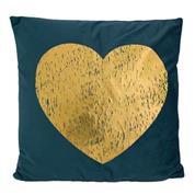 Μαξιλάρι διακοσμητικό μπλε, με χρυσή καρδιά 45x45εκ.