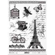 """Ριζόχαρτο """"Eiffel tower-bicycle"""" 21x29εκ.   (ITD-R1512)"""