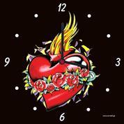 """Ρολόι χάρτινο """"φλογισμένη καρδιά"""""""
