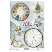 """Ριζόχαρτο """"Christmas tree, clock, clock face"""" 21x29.7εκ.   (ITD-R1641)"""