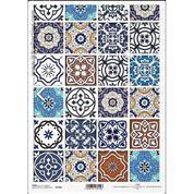 """Ριζόχαρτο """"Vintage-colourful tiles"""" 21x29εκ.   (ITD-R1381)"""