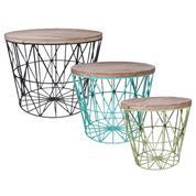 Σετ 3 τραπέζια ξύλινα με σιδερένια βάση Υ47x59.5εκ. & Y42x50εκ. & Υ37,5x40εκ.