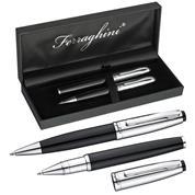 Σετ στυλό Ferraghini ball pen-rolleball pen μαύρο-ασημί