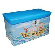 """Σκαμπώ-κουτί αποθήκευσης υφασμάτινο """"pirates ship"""" Υ35x60x30εκ."""