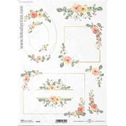 """Ριζόχαρτο """"Watercolors flowers 3"""" 21x29εκ.   (ITD-R1458)"""