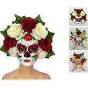 Μάσκα για την ημέρα των νεκρών με πολύχρωμα λουλούδια