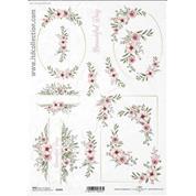 """Ριζόχαρτο """"Watercolors flowers 2"""" 21x29εκ.   (ITD-R1459)"""