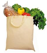 Τσάντα βαμβακερή με κοντό χερούλι εκρού Υ42x38εκ.