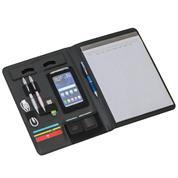 Portfolio A4 με μπλοκ και θήκες για στυλό, κινητό και κάρτες συνθετικού δέρματος μαύρο 24,5x33x1,8εκ