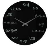 """Ρολόι τοίχου γυάλινο μαύρο """"mathematic"""" Ø35εκ."""