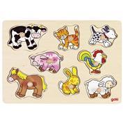 "Goki παζλ - σφηνώματα  ξύλινο ""Ζώα της φάρμας"" 30x21εκ. 8 τεμαχίων"