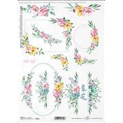 """Ριζόχαρτο """"Watercolors flowers 1"""" 21x29εκ.   (ITD-R1460)"""