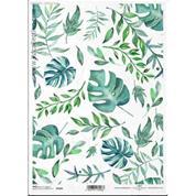 """Ριζόχαρτο """"Green-blue leaves"""" 21x29εκ.   (ITD-R1416)"""