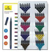Adel σταντ μαρκαδόρων fineliner 0.4mm διάφορα χρώματα 180τεμ.