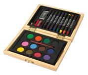 Σετ ζωγραφικής σε ξύλινο κουτί 24 τεμαχίων Υ11,6x15,6x2,9εκ.