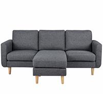 Flex καναπές γωνιακός σκούρο γκρι Υ83x197x137εκ.