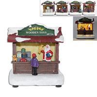 Χριστουγεννιάτικα διασκοσμητικά φωτιζόμενα καταστήματα 4 σχέδια Υ7x10x11εκ.