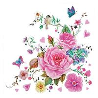 """Χαρτοπετσέτες 20τεμ. 33x33εκ """"Τριαντάφυλλα με πεταλούδες"""" (SD_OG_025701)"""