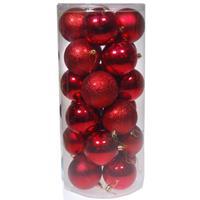 Χριστουγεννιάτικες μπάλες πλαστικές κόκκινες 24τεμ., Ø8εκ.