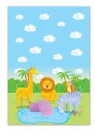 """Τραπεζομάντηλο πλαστικό """"wild animals"""" 54x72εκ."""