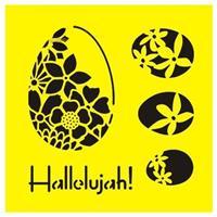 """Στένσιλ πλαστικό """"Πασχαλινά αβγά"""" 16x16εκ.  (ST0144Α)"""
