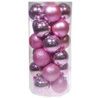 Χριστουγεννιάτικες μπάλες πλαστικές ροζ 24τεμ., Ø8εκ.
