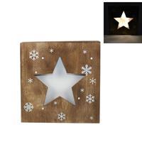 """Χριστουγεννιάτικο φωτιζόμενο καδράκι """"αστέρι"""" ξύλινο Υ25x25εκ."""