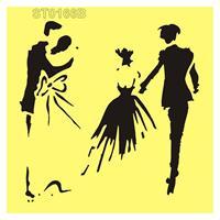 """Στένσιλ πλαστικό """"the newlyweds"""" 16x16εκ.  (ST0166B)"""