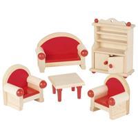 Goki σετ σαλόνι ξύλινο 5 τεμαχίων για κουκλόσπιτο.