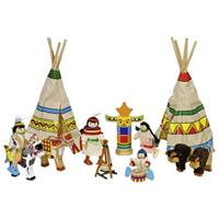 Goki σετ με ινδιάνους ξύλινο 14 τεμαχίων.
