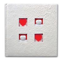 """Φώτο άλμπουμ γάμου λευκό """"4 καρδιές"""" για 120 φωτογρ. 27x27εκ."""