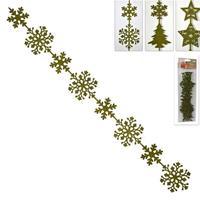 """Χριστουγεννιάτικη γιρλάντα πράσινη """"νιφάδες"""" από τσόχα μήκους 1μ. σε blister"""