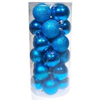 Χριστουγεννιάτικες μπάλες πλαστικές γαλάζιες 24τεμ., Ø8εκ.