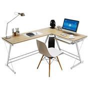 Γραφείο αριστερή γωνία Υ73x110x120x48εκ. maple χρώμα και μεταλλικό άσπρο σκελετό