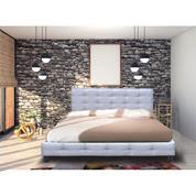 FIDEL κρεβάτι διπλό με υφασμάτινο γκρι σκελετό Y107x215x188εκ. (στρώμα 180x200εκ.)