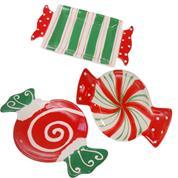 """Χριστουγεννιάτικα κεραμικά πιάτα """"καραμέλες"""", κοκτέηλ 3 σχέδια, 21x13x2εκ."""