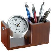 Μολυβοθήκη ξύλινη πολυτελείας, με ρολόι καφέ