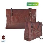 Δερμάτινη τσάντα γυναικεία 33x8.5x21εκ. καφέ