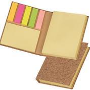 Μπλοκ από φελλό eco με χαρτάκια σημειώσεων και σελιδοδείκτες 8x10,5x1,8εκ.