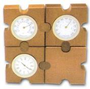Bestar ρολόι - βαρόμετρο - θερμόμετρο σε παζλ ξύλινο Υ11x11x3,5εκ.