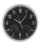 Ρολόι τοίχου θερμόμετρο-υγρόμετρο μαύρο καντράν Ø35εκ.