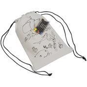 Τσάντα πλάτης λευκή για ζωγραφική με 5 κηρομπογιές Υ29,8x20.6x0.3εκ.