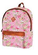 Marshmallow τσάντα δημοτικού ροζ λουλούδια με 2 θήκες 41x32x14εκ.