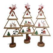 Χριστουγεννιάτικο δέντρο ξύλινο XMAS 50εκ. κοκτέηλ 3 σχέδια