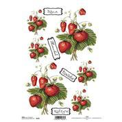 """Ριζόχαρτο """"strawberries"""" 21x29εκ.   (ITD-R126)"""