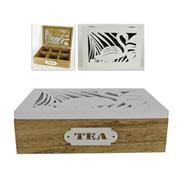 """Κουτί αποθήκευσης """"tea"""" ξύλινο με 6 θέσεις Υ7x23x16εκ."""