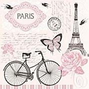 """Χαρτοπετσέτες 20τεμ. """"Παρίσι-ποδήλατο"""" 33x33εκ. (SL_OG_036401 )"""