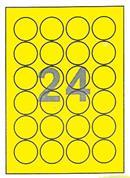 Fleks ετικέτ. αυτοκόλ. κίτρινες Ø46mm 24/φ 25φ Α4