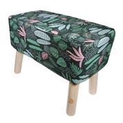 """Σκαμπώ υφασμάτινο """"floral"""" με ξύλινα πόδια Υ37x50x27εκ."""