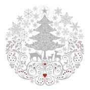 """Χαρτοπετσέτες 20τεμ. 33x33εκ """"Χριστουγεννιάτικη σύνθεση σε κύκλο"""" (SD_GW_009401)"""